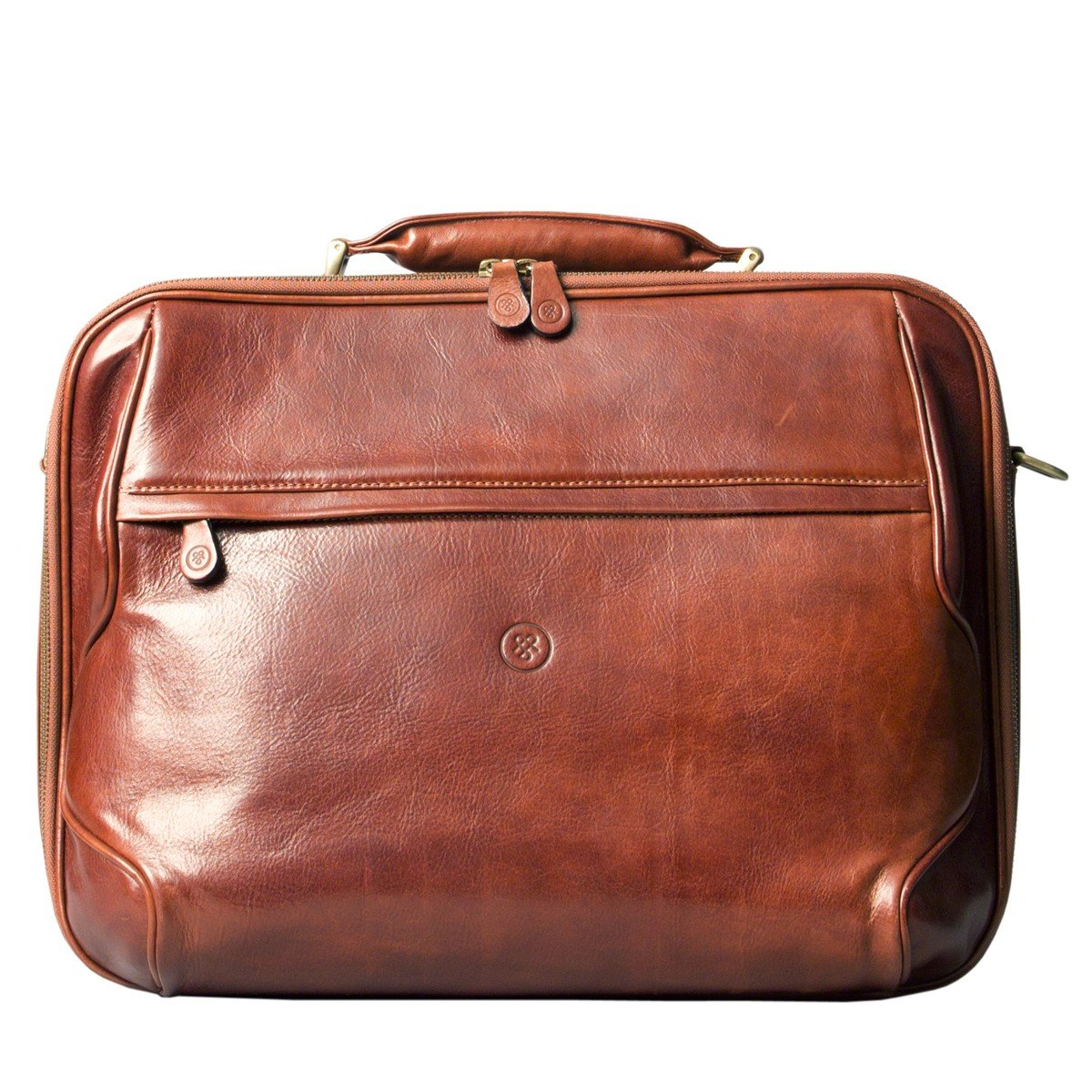 Maxwell Scott Luxury Tan Leather Computer Bag (The Volterra) - One Size