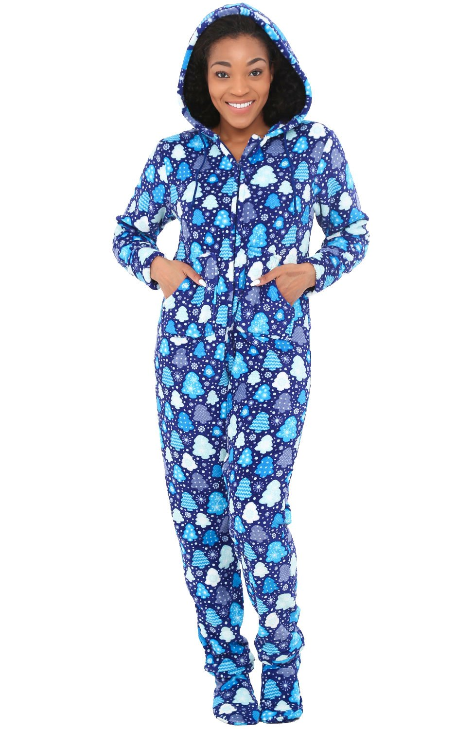 Alexander Del Rossa Womens Fleece Onesie, Hooded Footed Jumpsuit Pajamas, XL Blue Christmas Tree Snowflakes (A0322Q66XL)