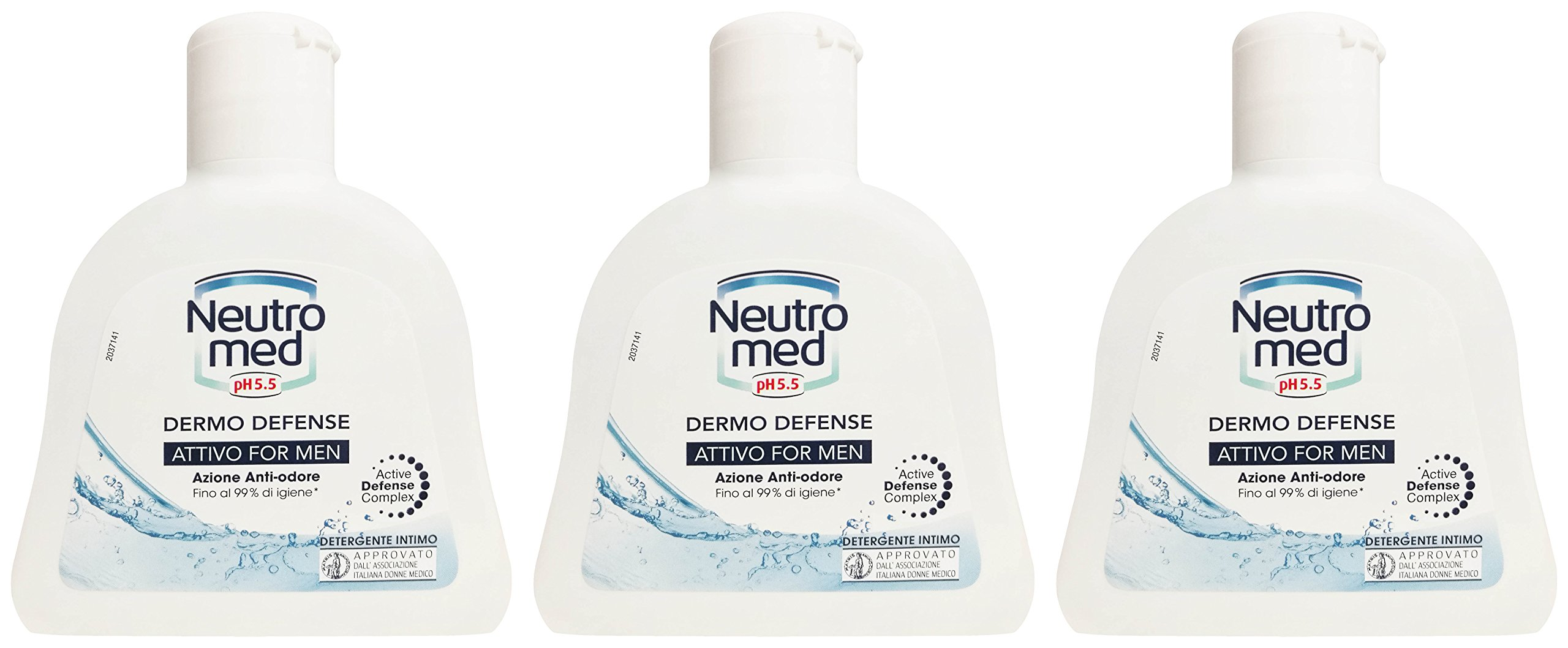 Neutromed: Active for Men Intimate Cleanser, Dermo-Defense Line - 6.76 Fluid Ounces (200ml) Bottles (Pack of 3) [ Italian Import ]