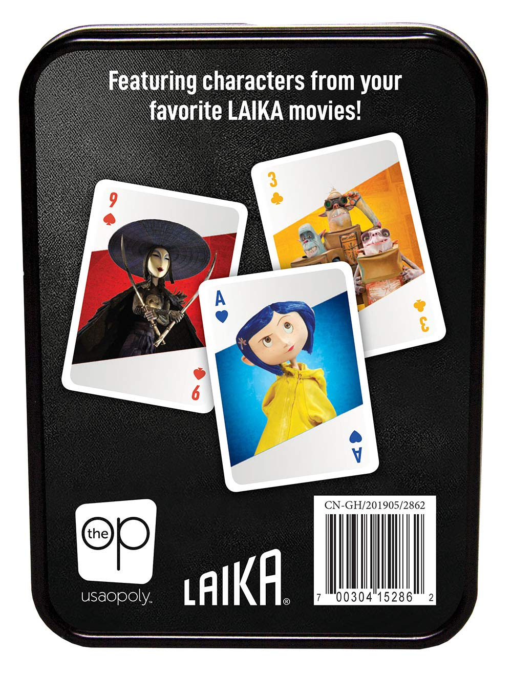 The Boxtrolls Deck of Cards Featuring Laika Studios Characters from Coraline USAOPOLY Laika Playing Card Set and Missing Link Collectible Tin Container ParaNorman Kubo and The Two Strings