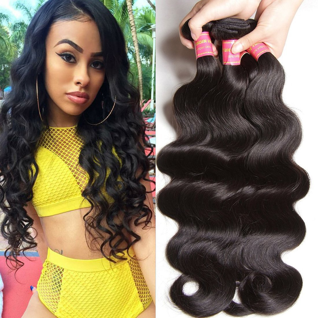 Amazon Klaiyi Hair Malaysian Body Wave Virgin Hair 3 Bundles