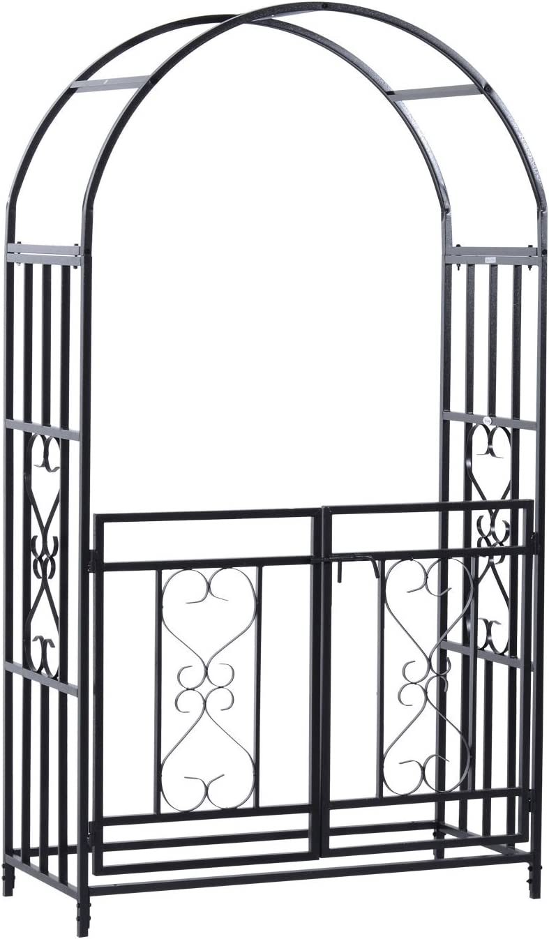 Outsunny Outdoor Metal Garden Arbor Arch with Double Gate, Weather-Fighting Black Epoxy Coating, & Steel Construction
