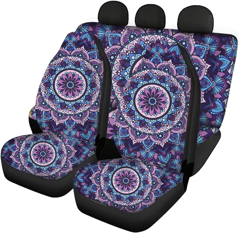 Bucket /& Bench Cover SUVs /& MPVs BIGCARJOB Sugar Skull Fashion Car Seat Covers Quilted /& Durable Strenthy Elastic Polyester Car Protectors Anti-Slip Front Rear Seat Covers for Most Cars