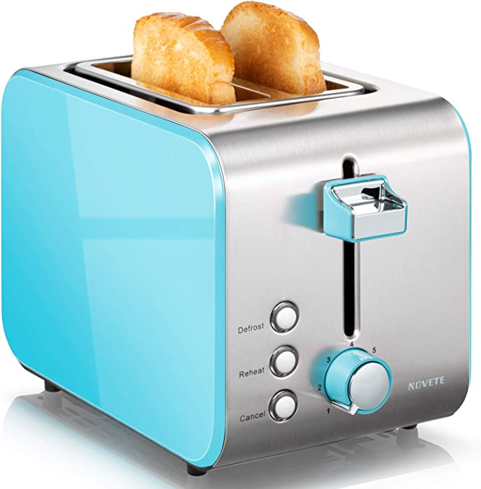 Toaster 2 Slice Prime Rated, NOVETE Retro Blue Toaster with Wide Slots, 7 Bread Shade Settings & Removable Crumb Tray, High Lift Lever, Compact Stainless Steel 2 Slot Toaster for Bread Waffles, 800W (2 Slices, Sky Blue)