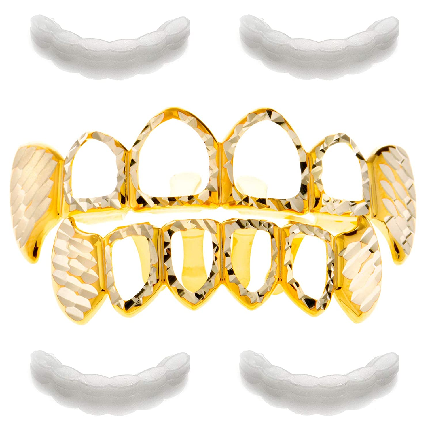 METALTREE98 Grillz Diamond-Cut Open Face Top & Bottom Teeth 4pc Fixing Bar LS 020 4of C4 G LS 020 4OF CUT4 G