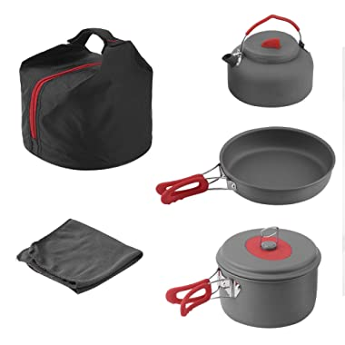 Buwico Camping Cookware Outdoor Hiking Cooking Picnic Pan Pot Dishcloth Set