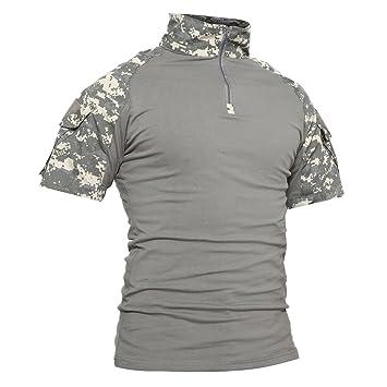 TACVASEN Táctico Militar Hombres Camiseta Camisas de Polo Camo T-Shirt: Amazon.es: Deportes y aire libre