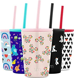Simple Modern Disney Water Bottle for Kids Reusable Cup with Straw Sippy Lid Insulated Stainless Steel Thermos Tumbler for Toddlers Girls Boys, 12oz, Mickey Mouse Floral (Cream)