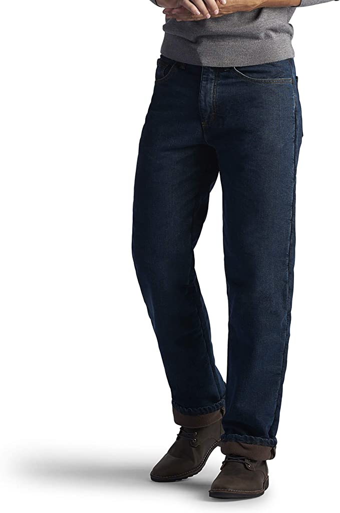 Lee Mens Fleece and Flannel Lined Relaxed-Fit Straight-Leg Jeans