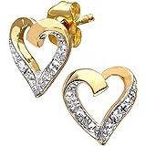 Naava 9ct Gold Diamond Heart Earrings