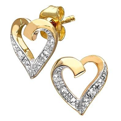 Naava Women's 9 ct Yellow Gold Diamond Heart Earrings zfK9vavW