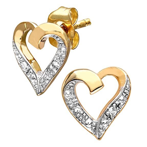 Pendientes Forma Corazón para Mujer de Oro de 9K con Diamantehttps://amzn.to/2KOUPAy