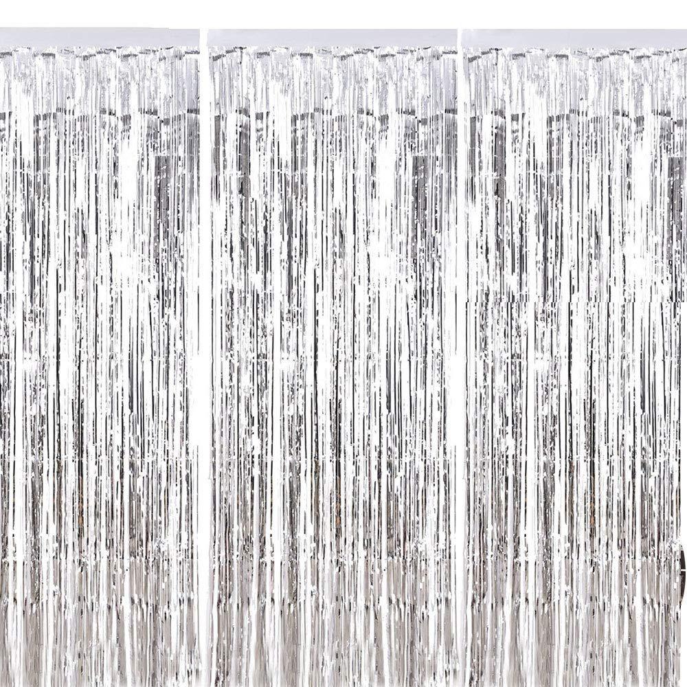 Fringe Cortina ManYee 3 Piezas Sliver Met/álico Foil Fringe Curtain Shimmer Brillante Cortinas de Papel para Fiestas Cumplea/ños Boda Foto Adecuado para Ventanas Puertas Paredes