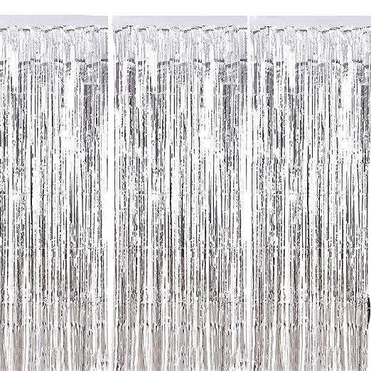 Fringe Cortina ManYee 3 Piezas Sliver Metálico Foil Fringe Curtain Shimmer Brillante Cortinas de Papel para Fiestas Cumpleaños Boda Foto Adecuado para ...