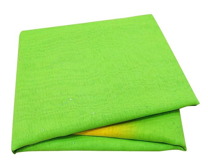 PEEGLI Mujer Vendimia Sari Verde Georgette Mezcla DIY Cortina Cubrir Tela Bordado Indio Saree