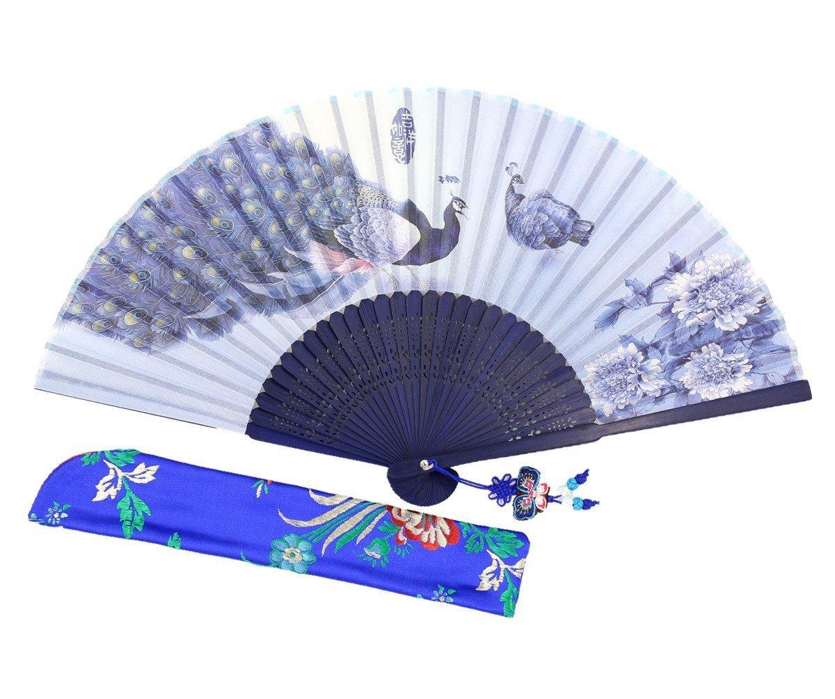 Wise Bird Chinese Fan Japanese Folding Hand Fan, Vintage Retro Style Fan 8'' Bamboo/Wood/Sandalwood Fan, Silk Fan Purse Fan, Wedding Favors, Home Decor Fan with Sleeve/Embroidery Tassel - F512