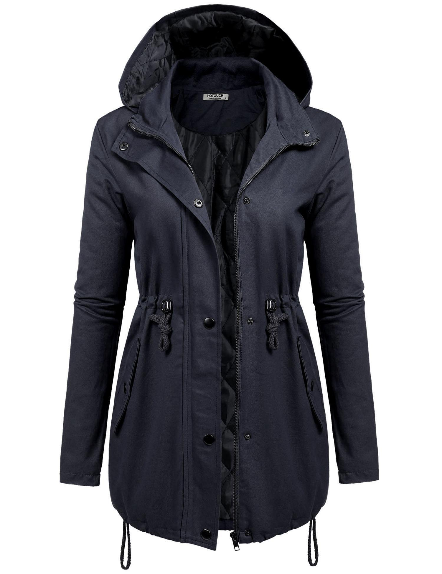 HOTOUCH Women's Versatile Militray Anorak Parka Hoodie jackets with Drawstring Navy Blue M
