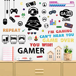 ZIIDOO 41 Pcs Gamer Room Decor,Video Game Room Decor,Gamer Wall Stickers Gamer Wall Decals for Gamer Bedroom