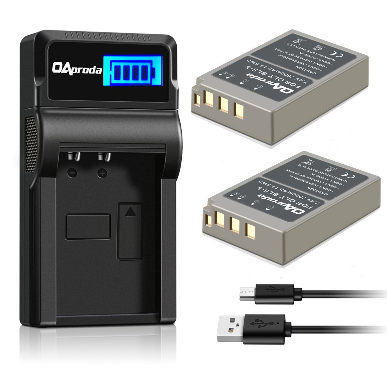 OAproda BLS-5 Batteries (2 Pack) and LCD USB Charger for Olympus BLS-5, BLS-50, PS-BLS5 and Olympus OM-D E-M10 III, E-M10 II, E-M10, PEN E-PL9, E-PL8, E-PL2, E-PL3, E-PL6, E-P3, E-PM1, E-PM2, Stylus 1 by OAproda (Image #1)