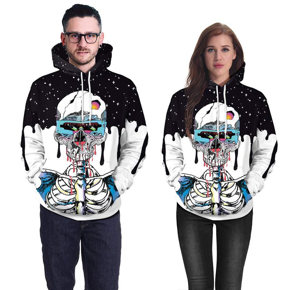 Farjing Clearance Sale,Lovers Scary Halloween Skull 3D Print Party Long sleeves Top Caps Sweatshirt(XL,Blue)