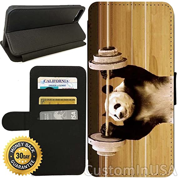 Amazoncom Flip Wallet Case For Iphone 7 Panda Lifting Weights