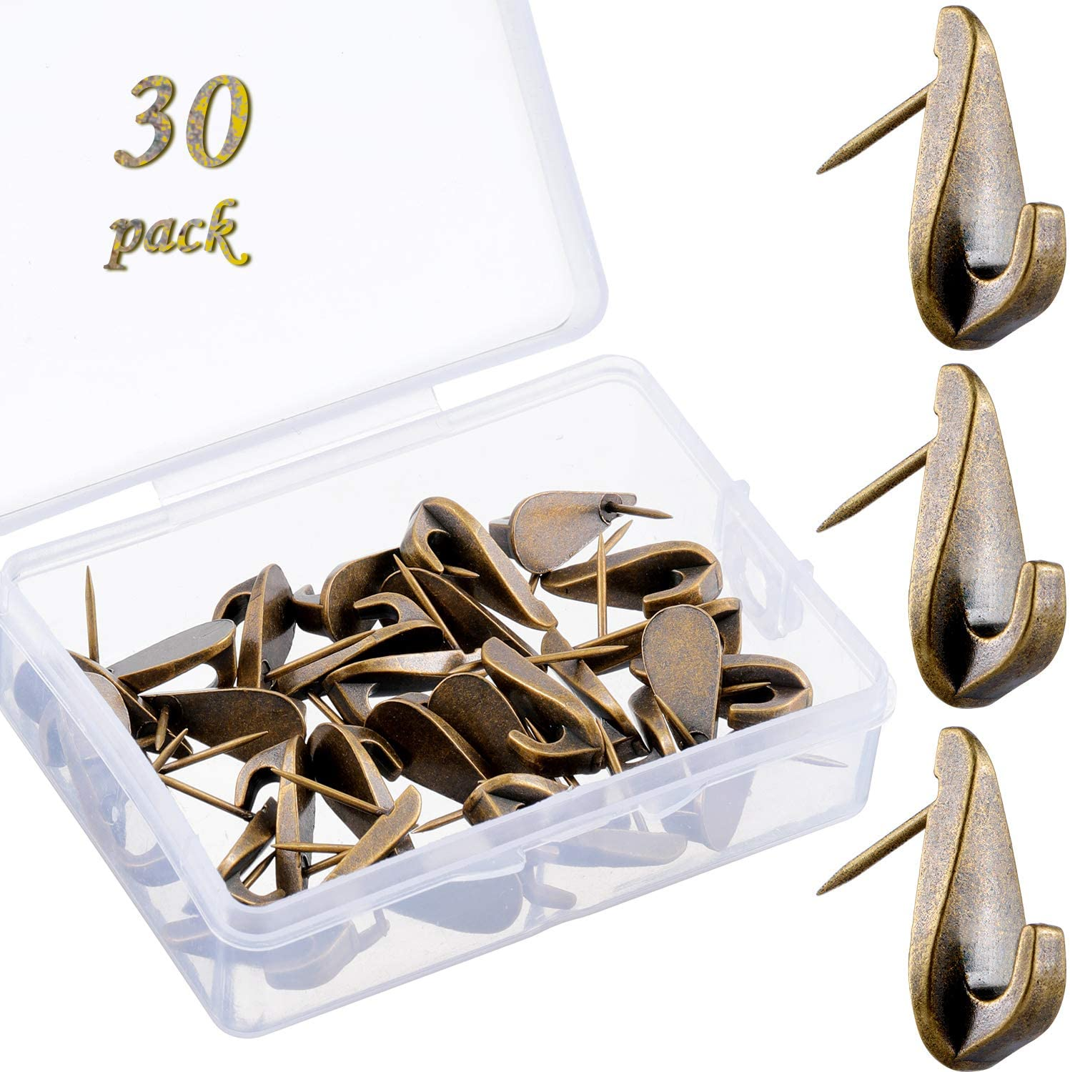 30 Pieces Pin Hooks Push Pin Hangers 20 lbs Teardrop Style Picture Hanging Nails for Home Office Wooden Fabric Wall (Bronze)