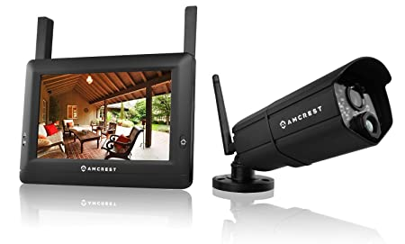 This wireless bullet-style security camera offers a complete home  surveillance system thanks to the included 7-inch HD monitor that is  compatible with up to ...