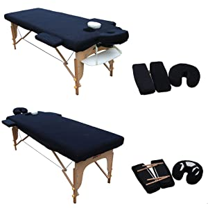 H-ROOT Massage Table Couch Cover. With Covers For Headrest And Armrest (Black) (195cm x 70cm)