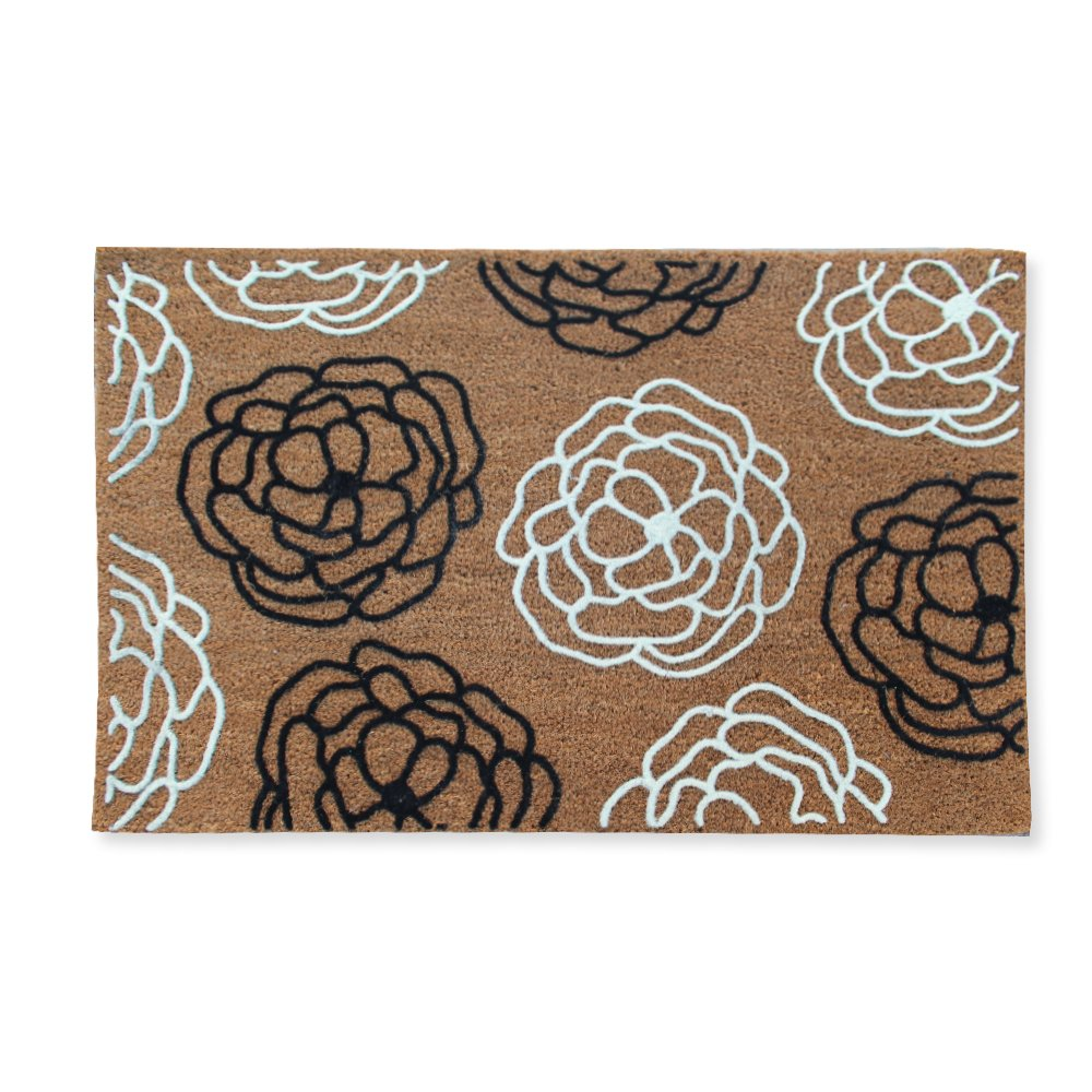 A1 Home Collections First Impression Entry Flocked Doormat, Magnolia Wildflower, Large(24'' L x 36'' W)