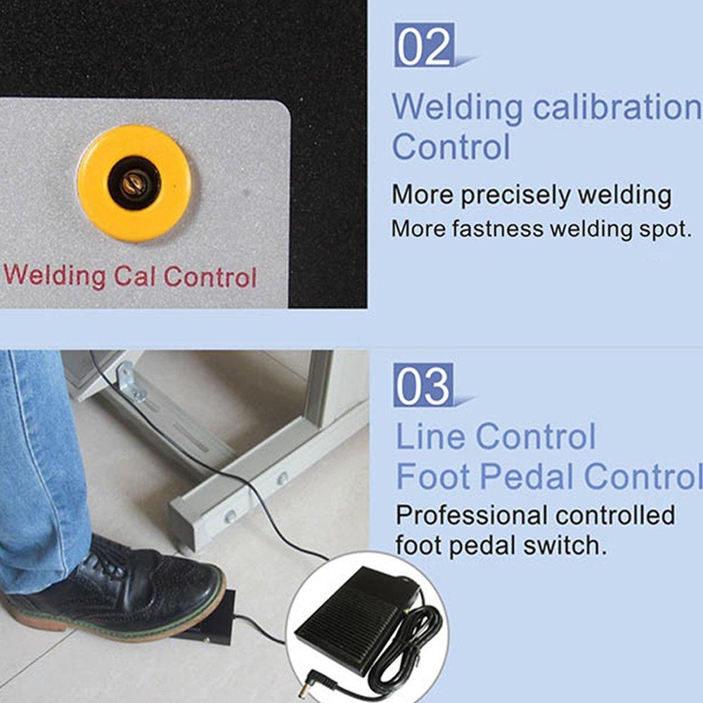 Elektroden Schwei/ßger/ät Schwei/ßmaschine,Baugger-Doppelmodus Pedal Batterie Punktschwei/ßer,Doppelimpuls Doppelanzeige Pr/äzisions Schwei/ßer with LED Angezeigt,Tragbarer Tragegriff