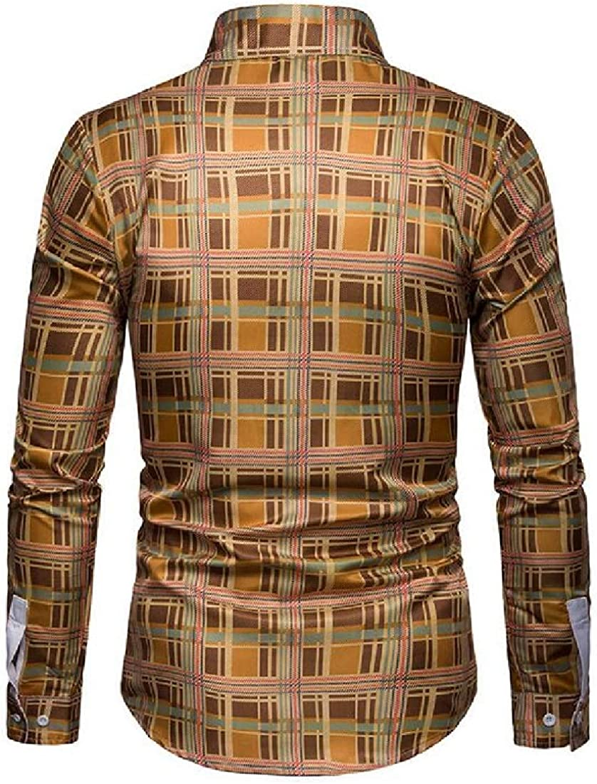 Fubotevic Mens Button Down Long Sleeve Plaid Business Casual Slim Dress Shirts
