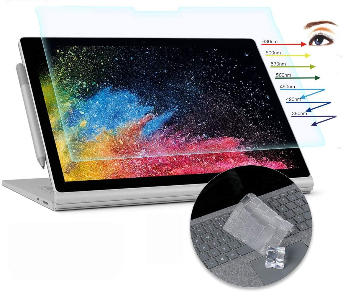 CaseBuy Surface Book 2 Screen Protector 13.5 inch Anti Glare Blue Light Filter for Microsoft Surface Book 2 13.5 inch with Keyboard Cover Ultra Thin TPU Protector