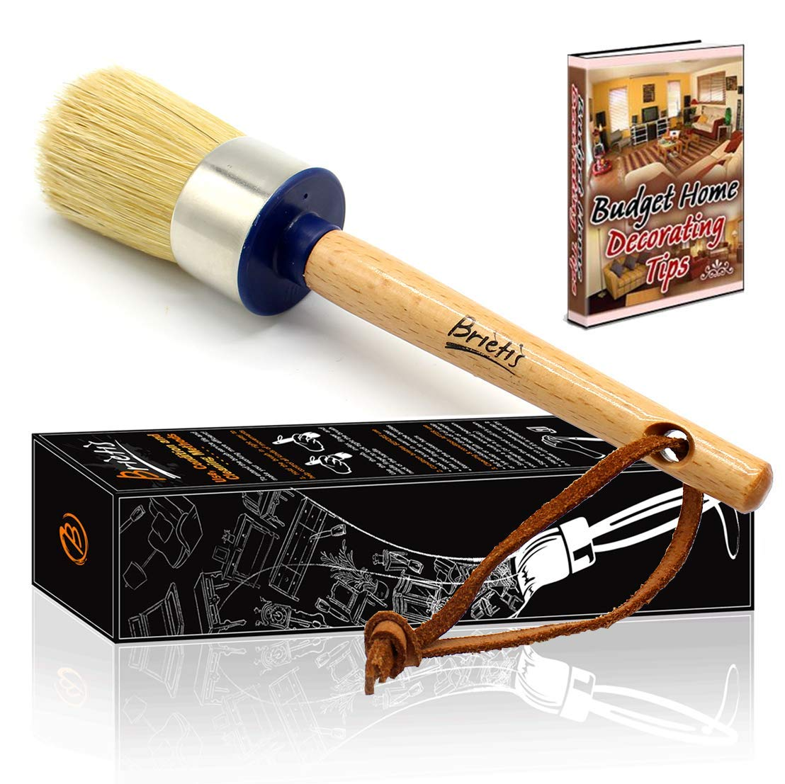 Brietis Premium Chalk & Wax Brush, Natural Boar bristles, Smooth Coverage for Furniture Painting, waxing, chalked Paint, Milk Paint, Stencils, Clear Wax | Soft, Large Round Brushes (1)