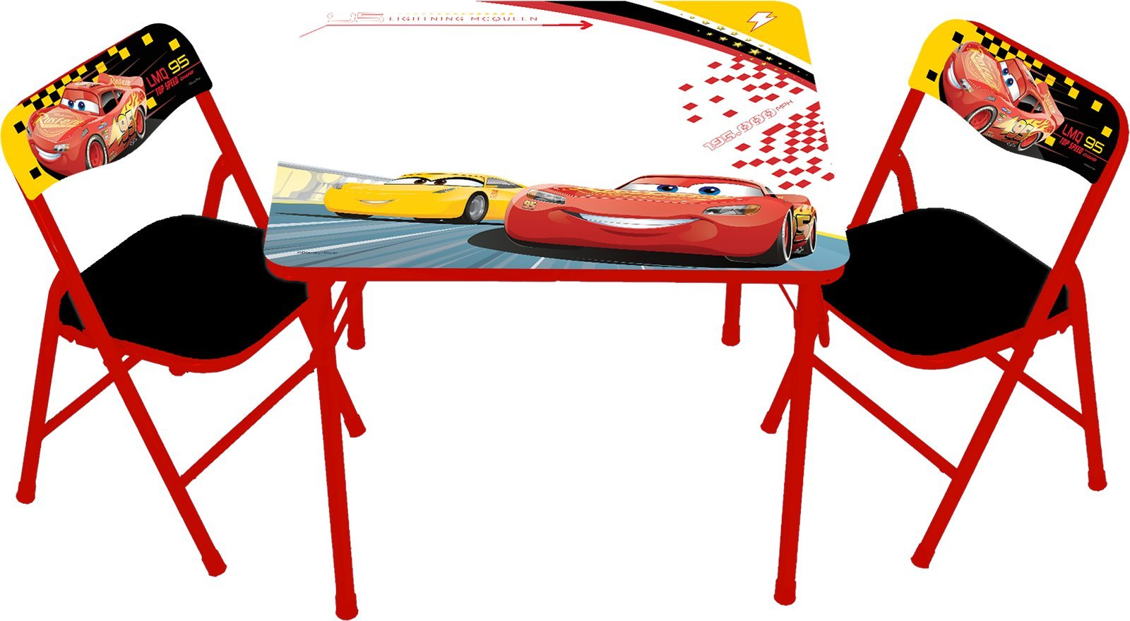 Cars Disney 3 Racers Edge Erasable Activity Table Set with 3 Dry Erase Markers Play Set with Two Chairs by Disney Cars