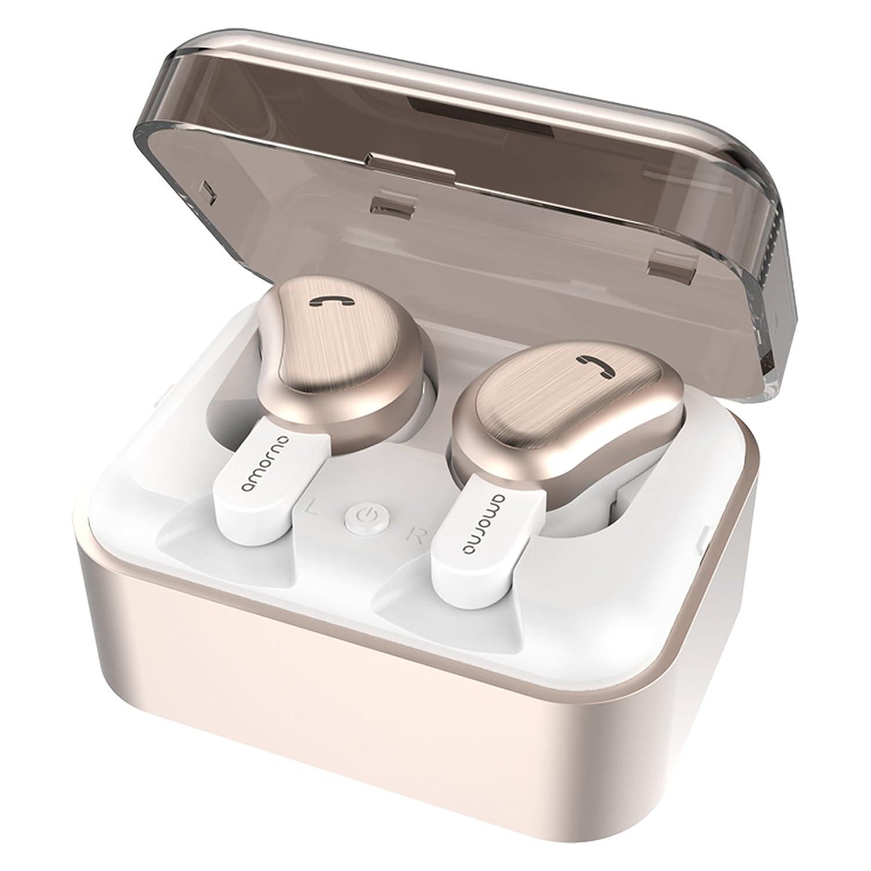 Auriculares inalámbricos, con cancelación de ruido de graves profundos en la oreja Mini auriculares deportivos a prueba de sudor con estuche de carga Micrófono incorporado