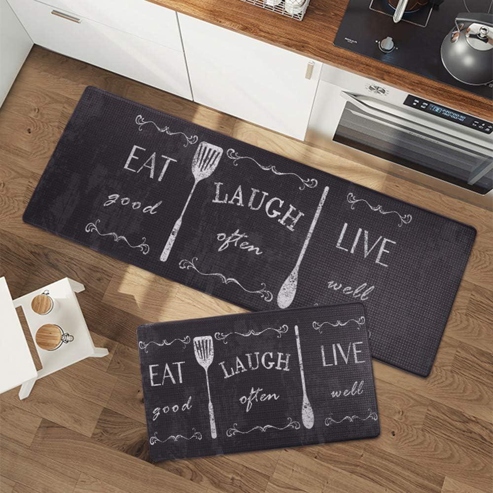 Seavish Anti Fatigue Kitchen Floor Comfort Mats Set, Eat Laugh Live 2 Piece 17