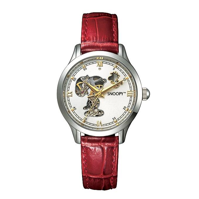 3a6c1079d2 Amazon | スヌーピー<機械じかけのラッキータイム>ダイヤモンド入り本格機械式シースルーウォッチ | レディース腕時計 | 腕時計 通販