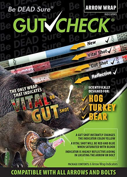 Gut Check Arrow Wraps 4 inch - Indicates Vital & Gut Shots  Use for Deer,  Hog, Bear, Turkey  Highly Reflective 6-Pack