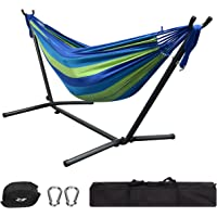 GreenWise 9Ft Double Hammock with Space Saving Steel Stand for Travel Beach Yard Outdoor Camping