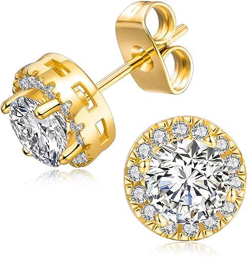 Women/'s Ear stud Earrings 18k Yellow Gold Filled green CZ Fashion Jewelry
