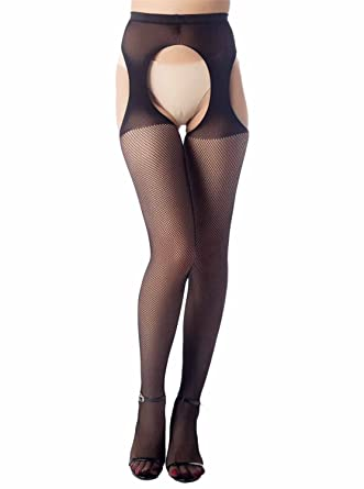 381a75603a0 iB-iP Women s sheer tight crotchless pantyhose High Waist Sexy Fishnet  Stockings
