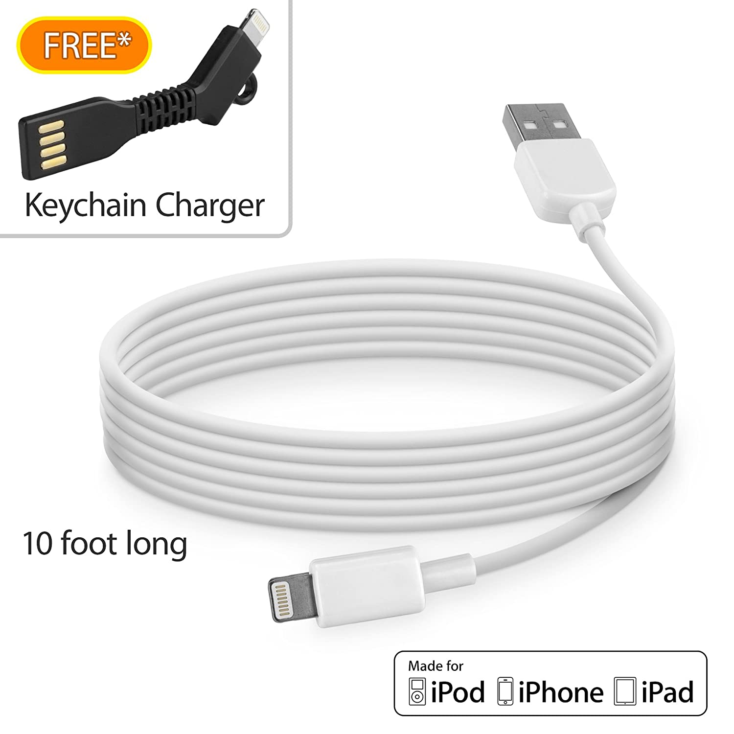 BoxWave iPhone 5 Cable Apple Certified MFI Lightning Charge Sync Cable for Apple iPhone 5-10 ft White BoxWave Corporation bw-877-4693-6956 USB Lightning Cable