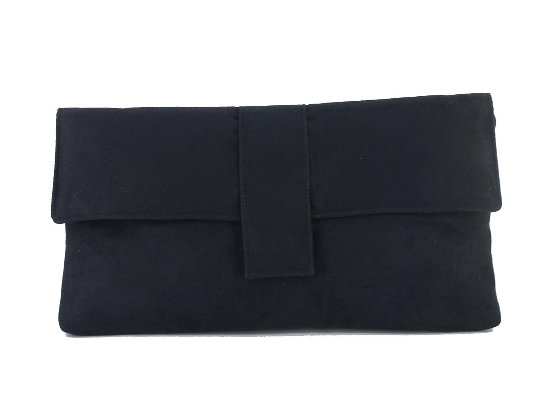 9aa43ac86c Loni Womens Fab Large Faux Suede Clutch Bag Shoulder Bag In Black  Handbags   Amazon.com