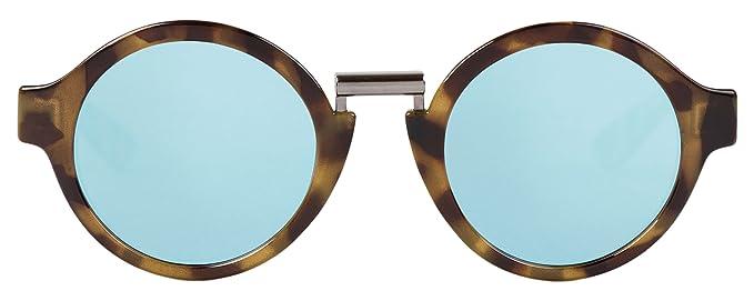 MR.BOHO, High-Contrast tortoise hackney with sky blue lenses