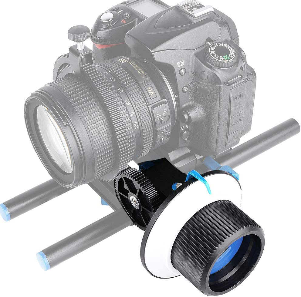 Mugast Photography Accurate Focusing,Universal Follow Focus with Standard 15mm Rail Rod Gear Ring Belt and Damping Design for All DSLR Cameras