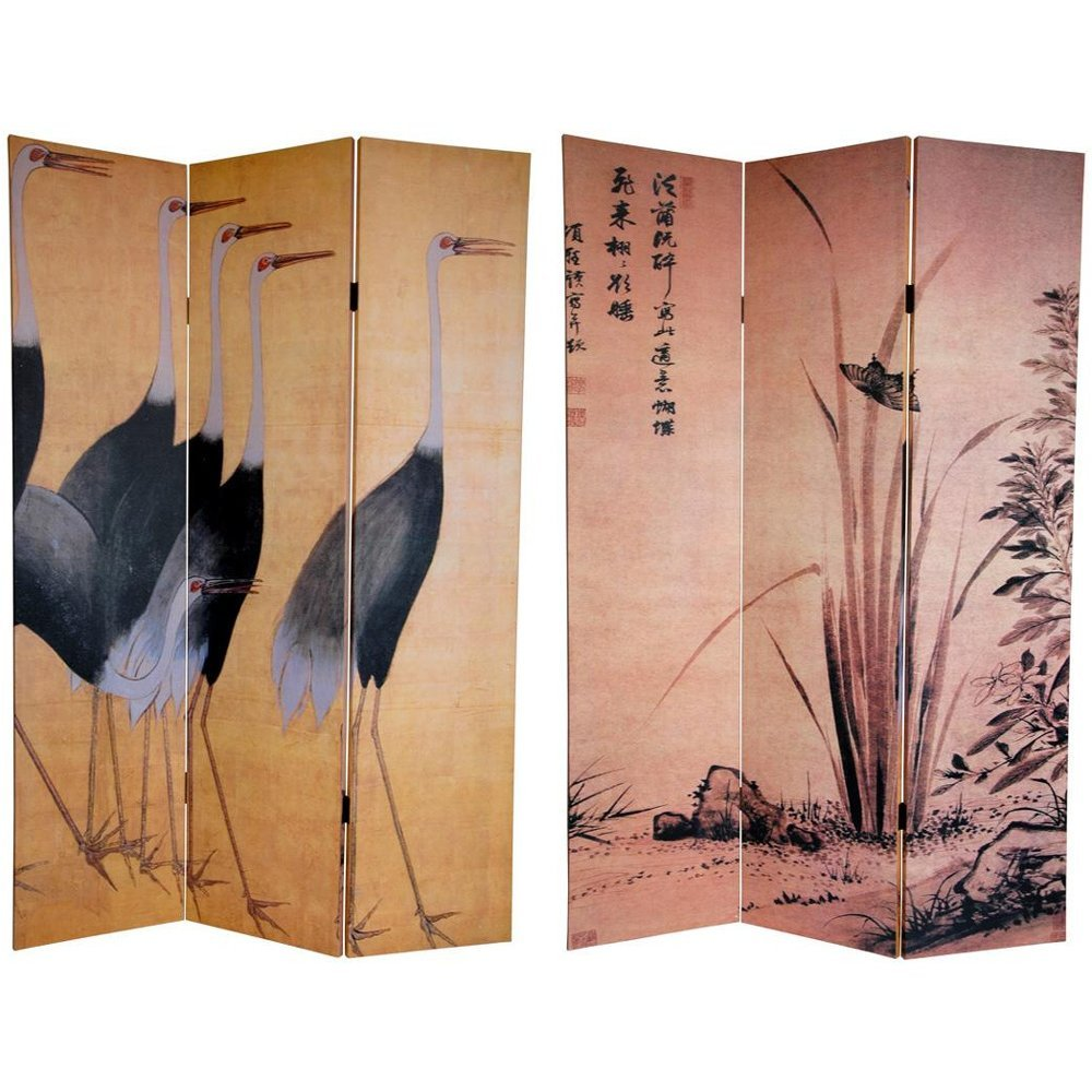 Oriental Furniture 6 ft. Tall Double Sided Cranes Room Divider