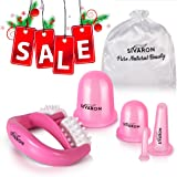 Sivaron Anti Cellulite Cupping Set[4 pcs]: 2 Silicone Body Cellulite Cups- Large and Medium, 2 Vacuum Facial Anti Aging Cups - Large and Mini, Cellulite Massage Roller, Beauty eBook. Look Younger