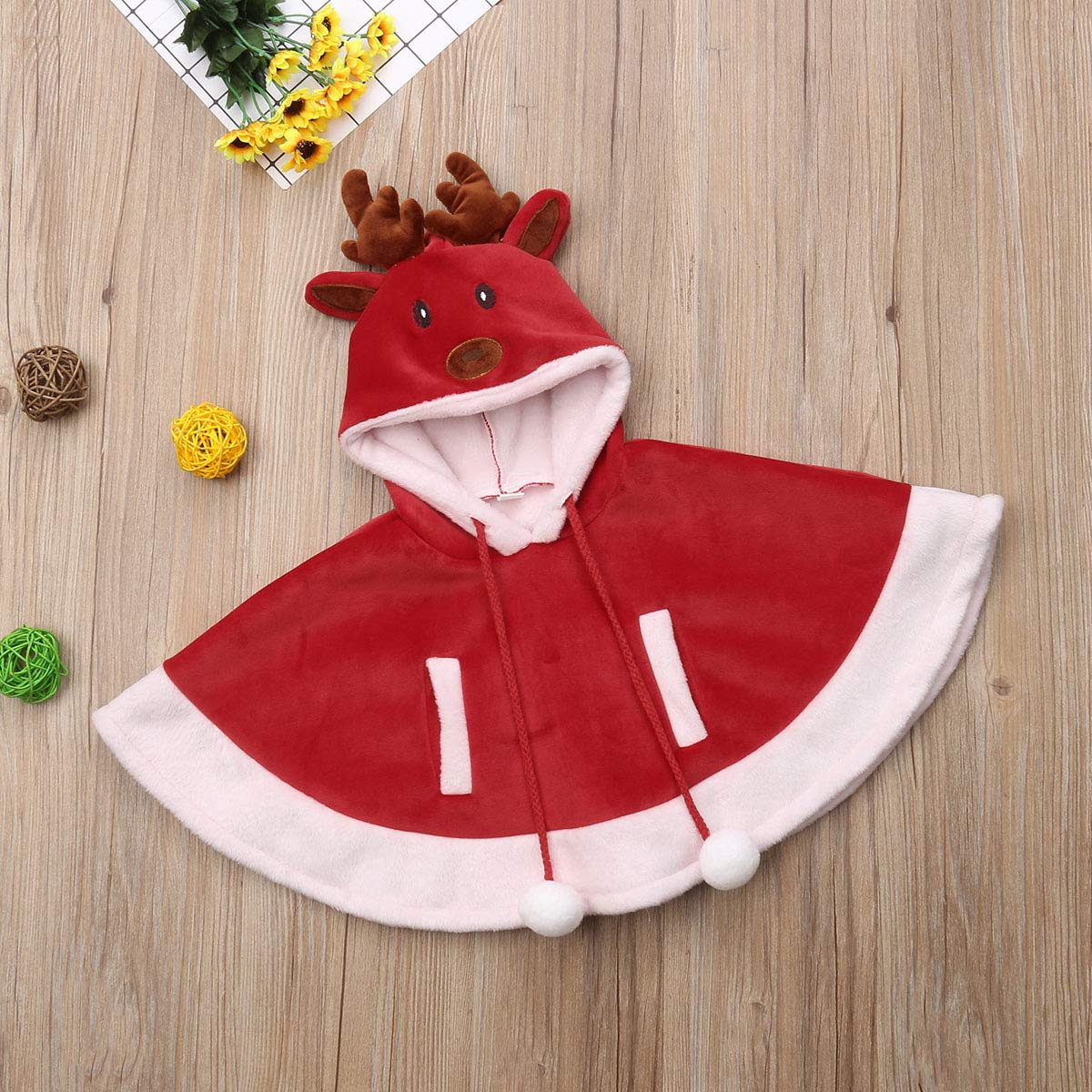 Red Riding Hood Girls Reindeer with Pompom Christmas Baby Girl Deer Hood Cape