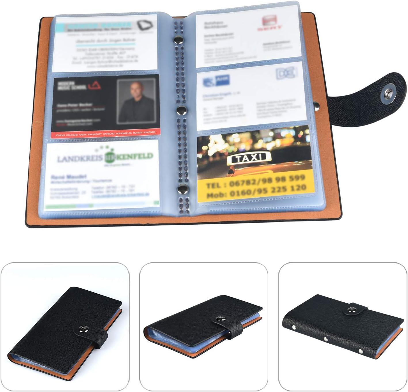 HOGAR AMO Visitenkarten Mappe f/ür 240 Karten Kreditkarten ID-Karte Bankkarte Fahrkarte Mitgliedskarte Organizer Harter Au/ßenbezug Kunstlerder Visitenkartenbuch Orange