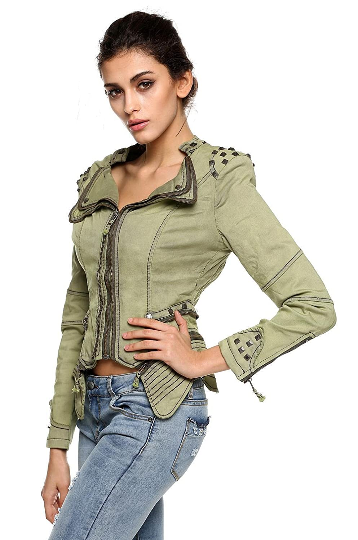 87e413c566f6 Fanala Women s Slim Fit Cropped Jean Denim Jacket Green S at Amazon Women s  Coats Shop